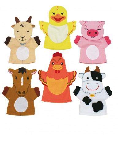 Marionetas animales granja- 6 unidades