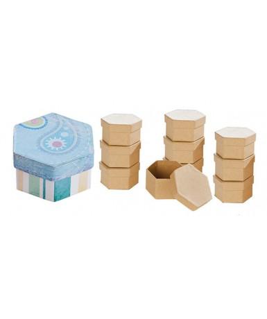10 cajas natural hexagonal para decorar