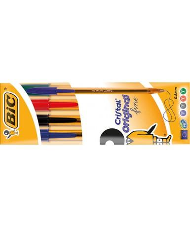Bolígrafo cristal fino blister 4 colores