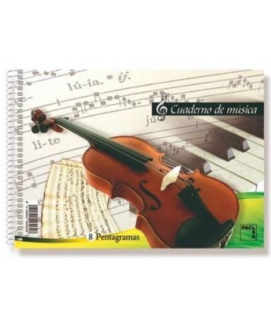 Cuaderno de música 8 pentagramas