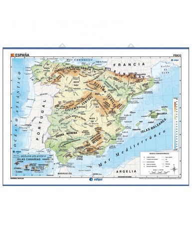 Mapa España Físico-Político. 140x100 cm.